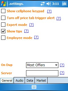 Settings  General Tab